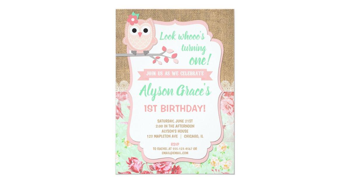 Owl 1st birthday invitations, girl owl birthday invitation