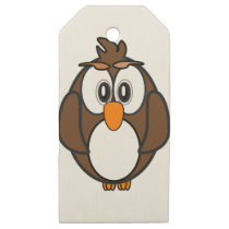 owl #2 wooden gift tags