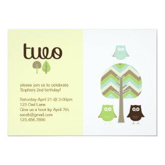 Owl 2nd Birthday Invitation