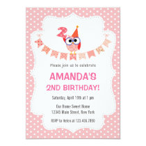 Owl 2nd Birthday Invitation Sweet Pink