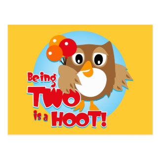 Owl 2nd Birthday Postcard