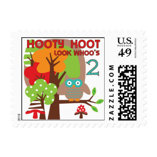 Owl 2nd Birthday T-shirts and Gifts Postage Stamp