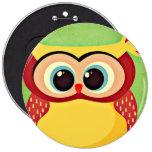 Owl 6 Inch Round Button