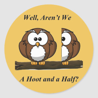 Owl A Hoot and a Half Classic Round Sticker