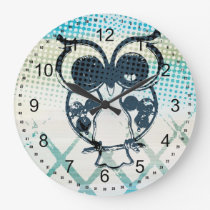 Owl Abstract Large Clock