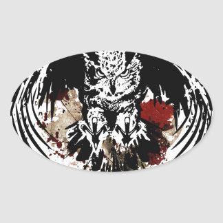 Owl Abstract Painting Oval Sticker
