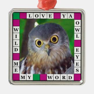 Owl-alishush Square Metal Christmas Ornament
