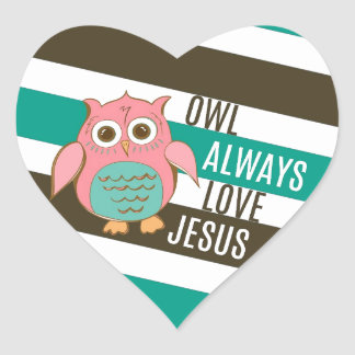 Owl Always Love Jesus Heart Sticker