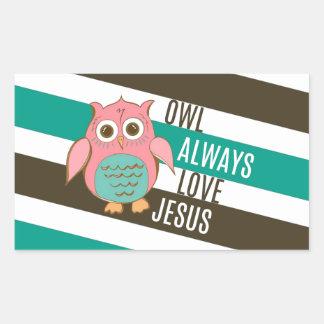 Owl Always Love Jesus Rectangular Sticker