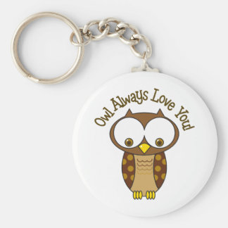 Owl Always Love You Basic Round Button Keychain