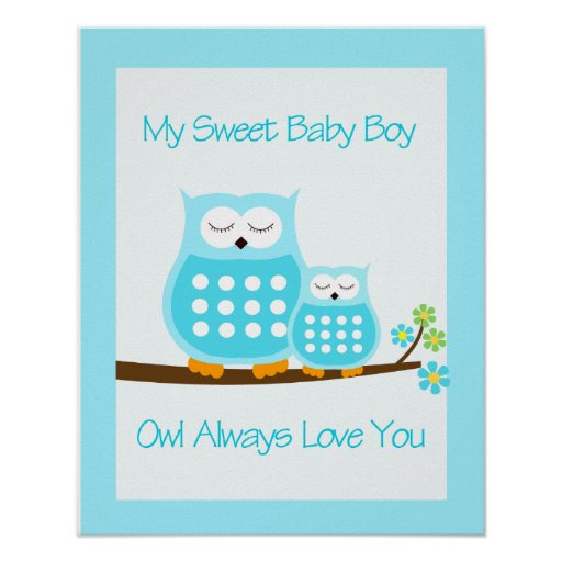 OWL Always Love you (Blue)  WALL ART PRINT 16x20