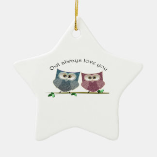 Owl always love you, cute Owls art Ceramic Ornament
