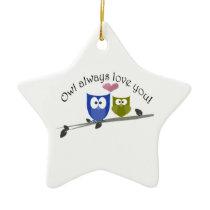 Owl always love you, cute Owls Art Ceramic Ornament