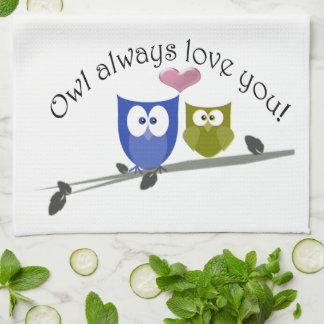 Owl always love you, cute Owls Art Hand Towels