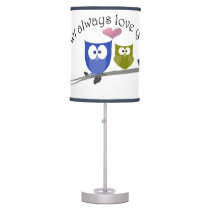 Owl always love you, cute Owls art Lamp