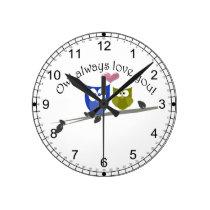 Owl always love you, cute Owls Art Round Wall Clock