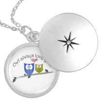 Owl always love you, cute Owls Art Silver Plated Necklace