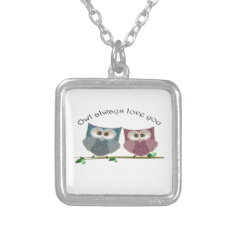 Owl Always Love You, Cute Owls Art Silver Plated Necklace at Zazzle