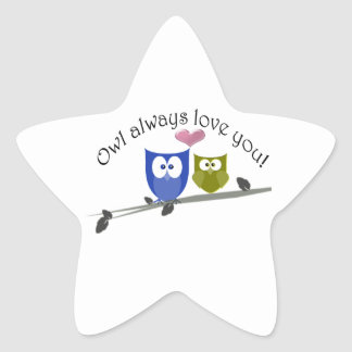 Owl always love you, cute Owls Art Star Sticker