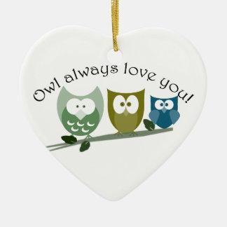 Owl always love you! Heart Ornament