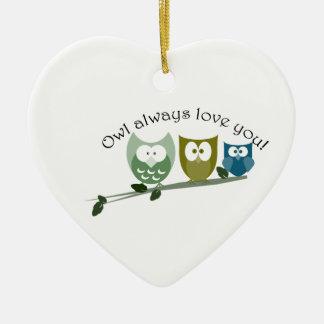 Owl always love you heart ornament