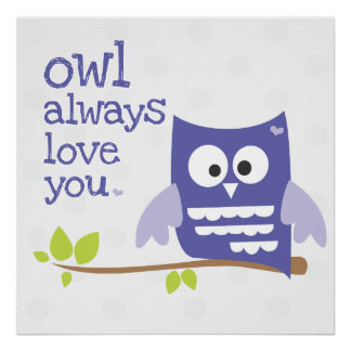 """owl always love you"" nursery wall art purple"