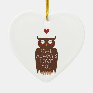 Owl Always Love You Double-Sided Heart Ceramic Christmas Ornament
