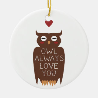 Owl Always Love You Double-Sided Ceramic Round Christmas Ornament