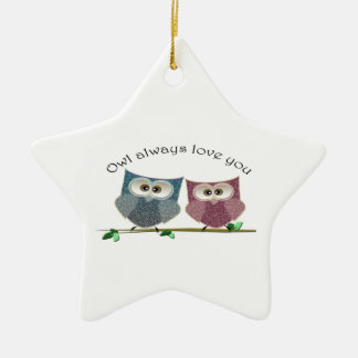 Owl always Love You, Pink and Blue Cute Owls Art Ceramic Ornament