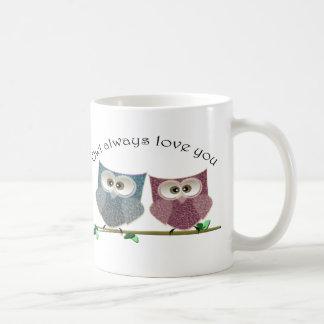 Owl always Love You, Pink and Blue Cute Owls Art Classic White Coffee Mug