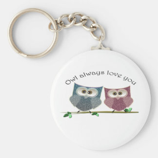 Owl always Love You, Pink and Blue Cute Owls Art Basic Round Button Keychain
