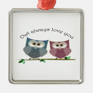 Owl always Love You, Pink and Blue Cute Owls Art Metal Ornament
