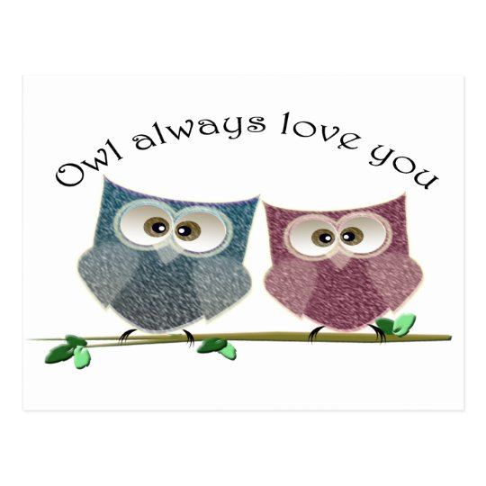 Owl always Love You, Pink and Blue Cute Owls Art Postcard