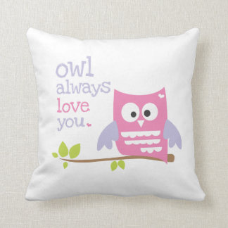 """owl always love you"" pink and purple owl pillow"