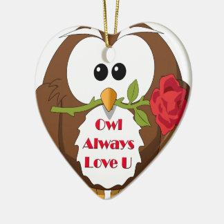 Owl Always Love You Theme Ceramic Ornament