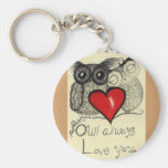 Owl always Love you... Whimsical keychain! Basic Round Button Keychain