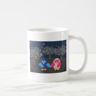 Owl amorously under the trees sulks coffee mug