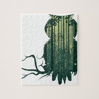 Owl and Abstract Forest Landscape2 Jigsaw Puzzle