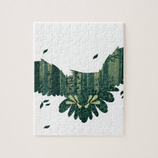 Owl and Abstract Forest Landscape Jigsaw Puzzle