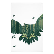 Owl and Abstract Forest Landscape Stationery