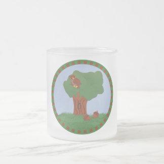 Owl and an Oak Tree Whimsical Cartoon Art 10 Oz Frosted Glass Coffee Mug