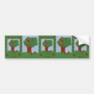 Owl and an Oak Tree Whimsical Cartoon Art Car Bumper Sticker