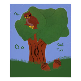 Owl and an Oak Tree Whimsical Cartoon Art Poster