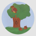 Owl and an Oak Tree Whimsical Cartoon Art Round Stickers