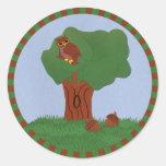 Owl and an Oak Tree Whimsical Cartoon Art Sticker