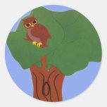 Owl and an Oak Tree Whimsical Cartoon Art Stickers