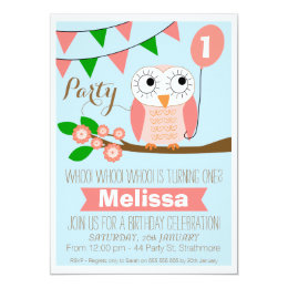 Owl birthday invitations announcements zazzle owl and balloon 1st birthday invitation filmwisefo Image collections