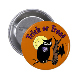 Owl and Bat Trick or Treat Button