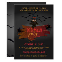 Owl and Bats Halloween Party Invitation