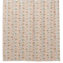 Owl and birch tree shower Curtain